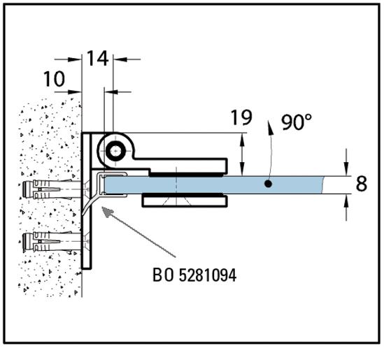 Duschtürband Wellness® Glas-Wand 90° nach außen öffnend einseitige Wandmontage