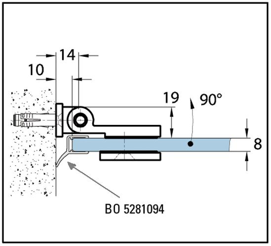 Duschtürband Wellness® Glas-Wand 90° nach außen öffnend lange Anschraubplatte