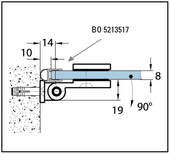 Duschtürband Wellness® Glas-Wand 90° nach innen öffnend lange Anschraubplatte