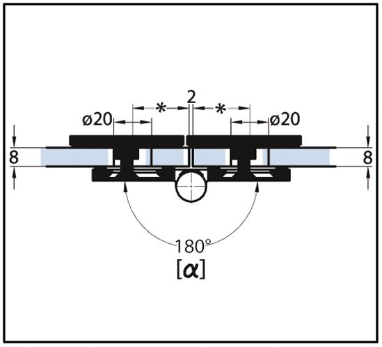 Winkelverbinder Milano Glas-Glas 45° - 180° verstellbar