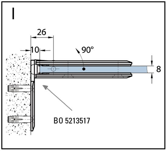 Duschtürband Milano Pur Glas-Wand 90° einseitige Wandmontage mit Spritzschutz