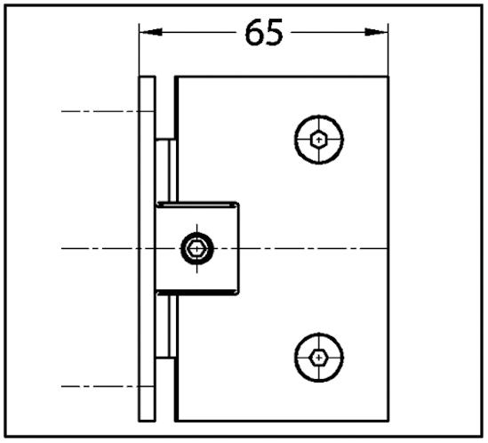 Duschtürband Fit Glas-Wand 90° einseitige Wandmontage