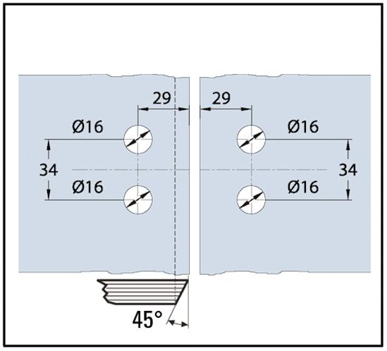Duschtürband Quadrato Glas-Glas 135° nach außen öffnend