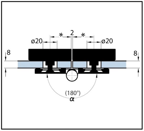 Winkelverbinder Quadrato Glas-Glas 45° - 180°
