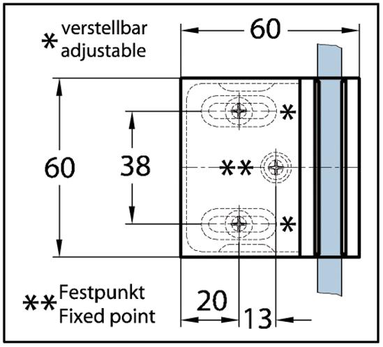 Duschtürband Milano Original Glas-Wand 90° einseitige Wandmontage