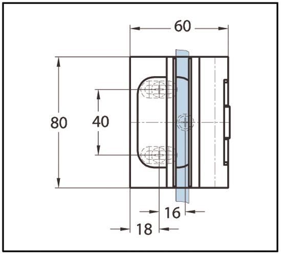 Duschtürband Cult Glas-Wand 90° nach außen öffnend einseitige Wandmontage