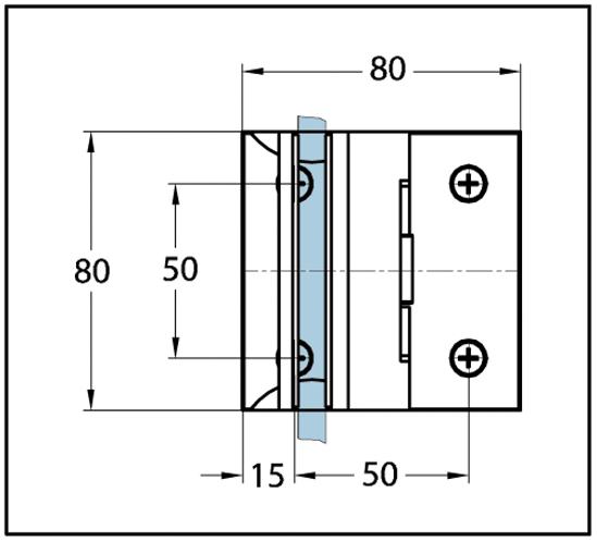 Duschtürband Cult Glas-Wand 90° nach außen öffnend beidseitige Wandmontage