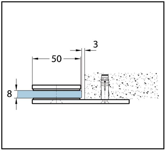 Längsverbinder Fit / Crossover Pur / CULT Glas-Wand 180°