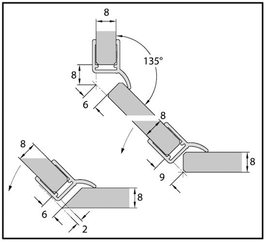 Duschtürdichtung mit seitlicher Dichtlippe für 6 - 8 mm