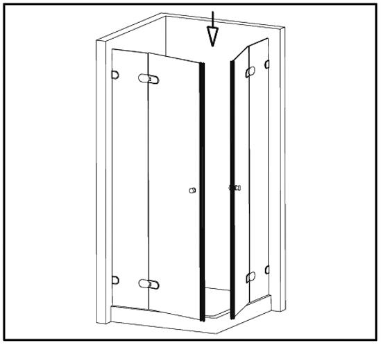 Duschtürdichtung selbstklebend mit 90° Magnetprofil für 8 - 12 mm