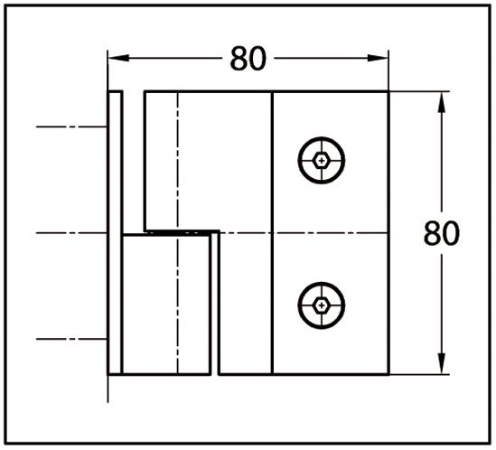 Duschtürband Crossover Pur Glas-Wand 90° nach außen öffnend, DIN rechts