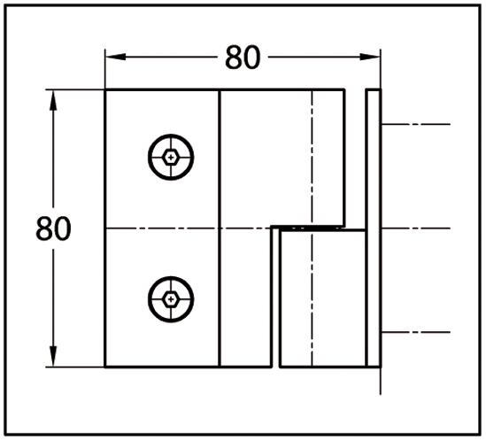 Duschtürband Crossover Pur Glas-Wand 90° nach außen öffnend, DIN links
