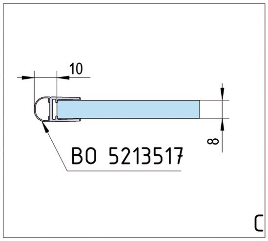 Duschtürband Art Glas-Wand 90° einseitige Wandmontage
