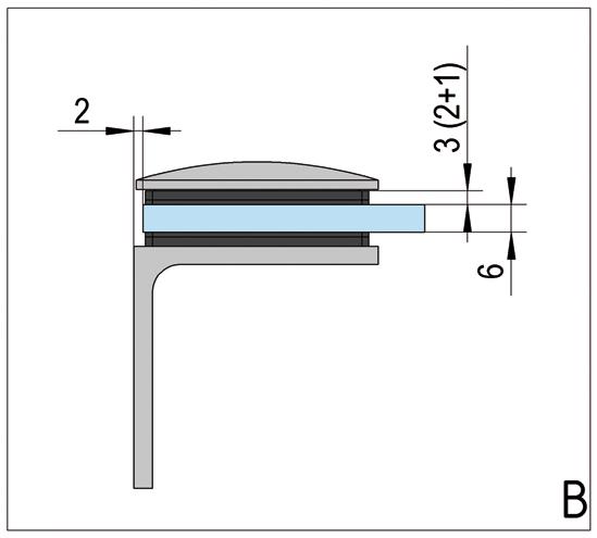 Winkelverbinder Art Glas-Wand 90°
