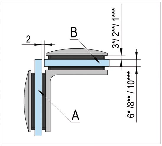 Winkelverbinder Art Glas-Glas 90°
