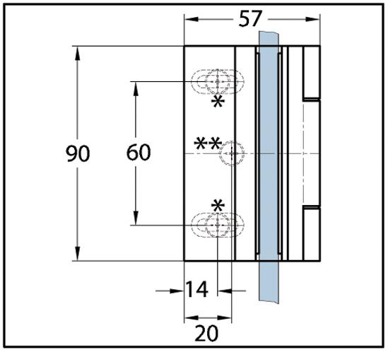 Duschtürband Bella Glas-Wand 90° mit Hohlkehle nach außen öffnend