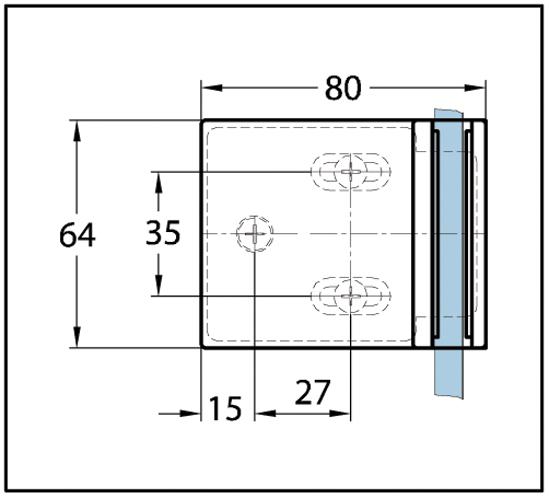 Duschtürband Milano Premium Glas-Wand 90° einseitige Wandmontage