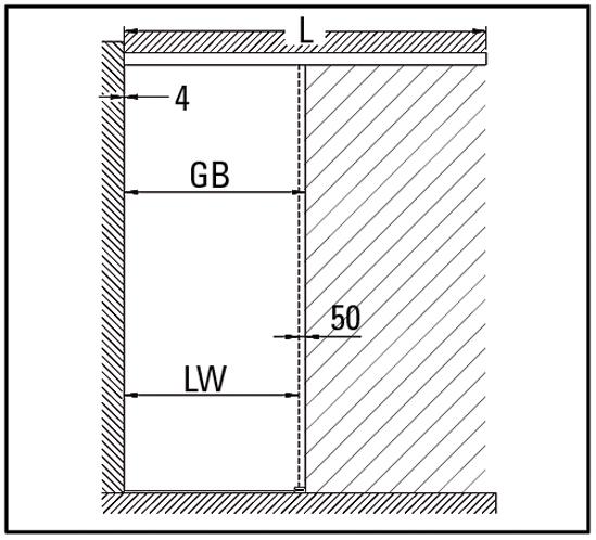 SlideTec optima 80 Set Deckenmontage ohne Einzugsdämpfung 1-flügelig