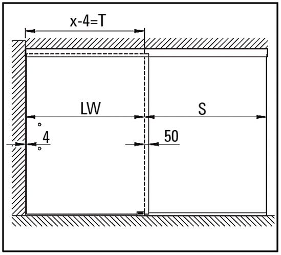 SlideTec optima 80 Set Deckenmontage mit Festverglasung ohne Einzugsdämpfung 1-flügelig