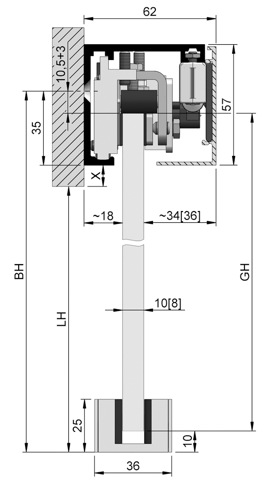 SlideTec optima 50 Set Wandmontage mit Einzugsdämpfung 1-flügelig