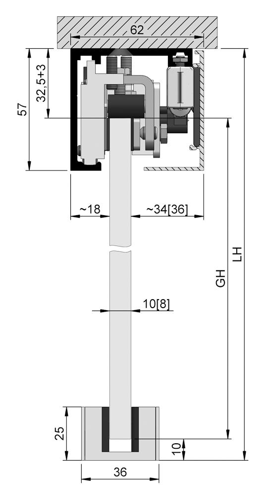 SlideTec optima 50 Set Deckenmontage mit Einzugsdämpfung 1-flügelig
