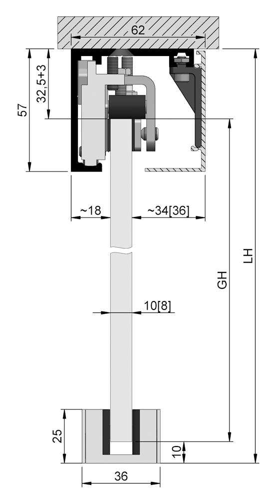 SlideTec optima 50 Set Deckenmontage ohne Einzugsdämpfung 1-flügelig
