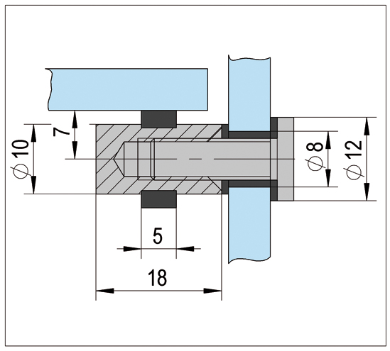 Showcase Shelf Supports ø 12 x 18 mm double sided