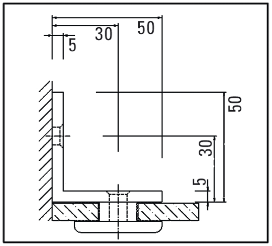 Vinkelförbindning glas till vägg 90°