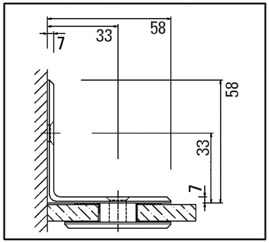 Winkelverbinder 90° Glas-Wand