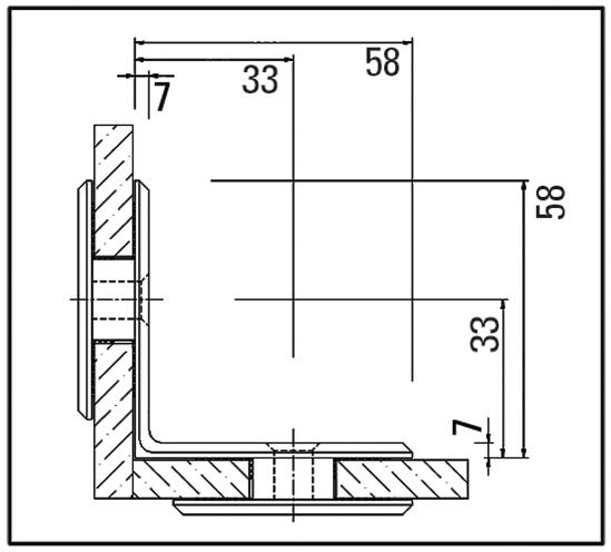 Winkelverbinder 90° Glas-Glas