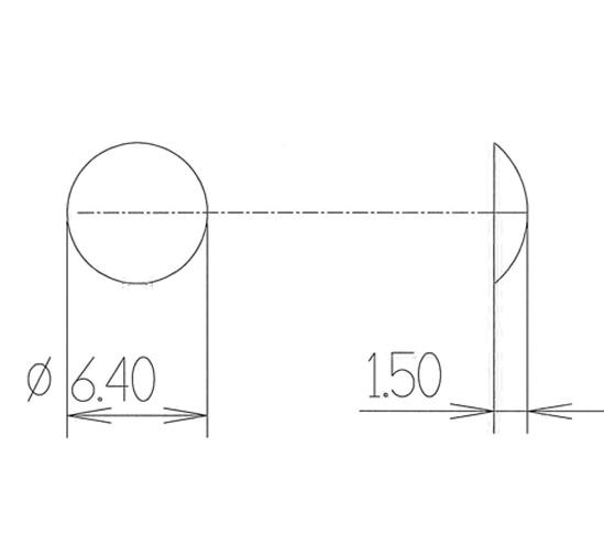 Elastikpuffer ø 6,4 mm Höhe 1,5 mm