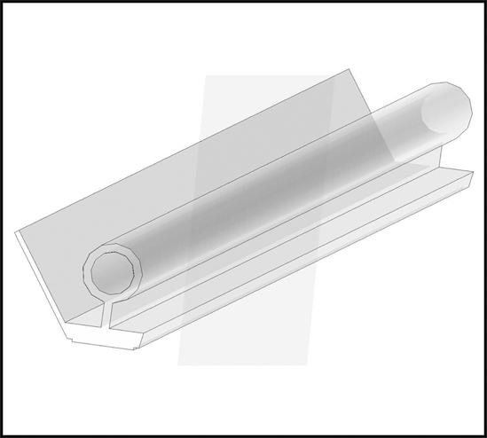 Duschtürdichtung selbstklebend mit Wasserabweiser und unterem Balg für 8 - 12 mm