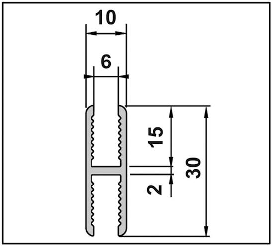 Aqua Adapterprofil für Festverglasung für 6 mm