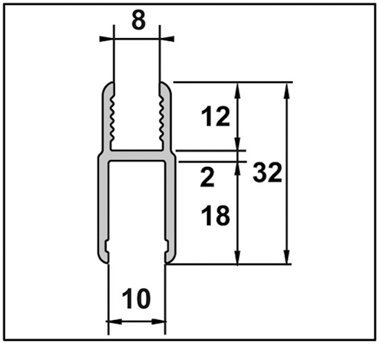 Aqua Zwischenprofil für Türanschluss für 8 mm