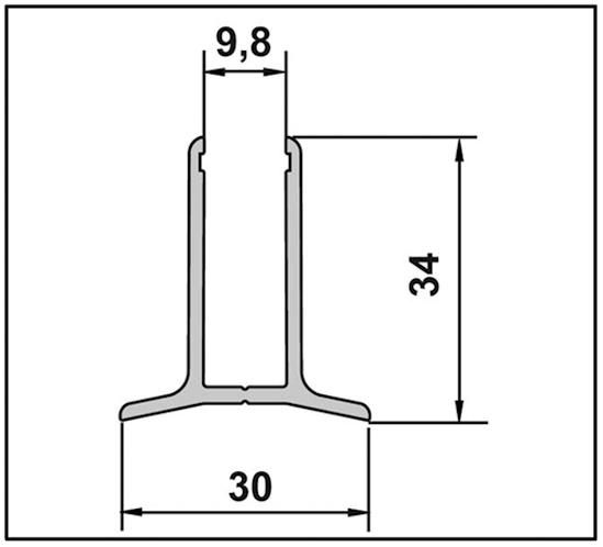 Aqua Wandanschlussprofil für Festverglasung für 8 mm
