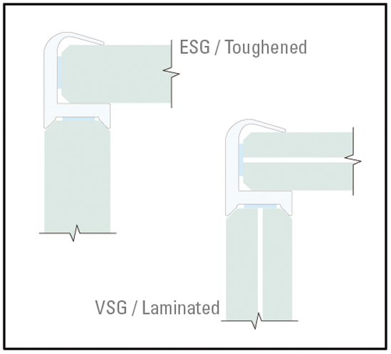 G2G - Glass partition joints 90° Corner Protection