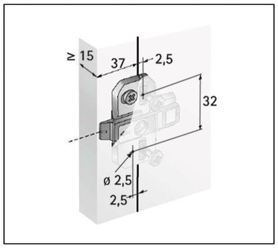 Anschraub-Kreuzmontageplatten mit asymmetrisch vormontierten Holzschrauben
