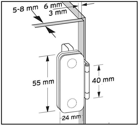 Ganzglas-Vitrinen-Scharnier, aufliegend