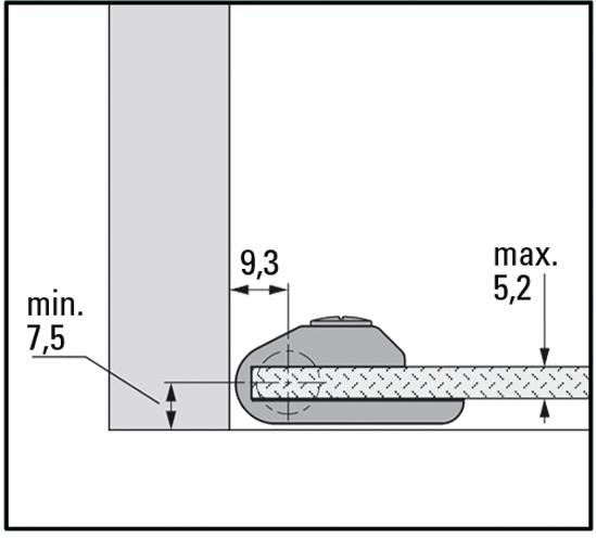 Glastürscharnier für einliegende Türen