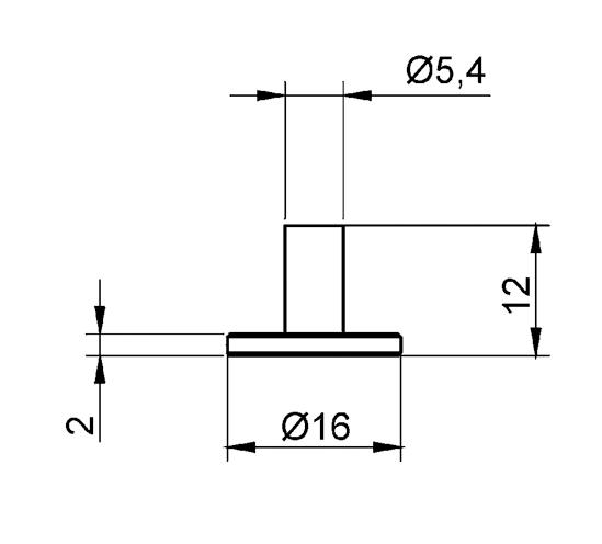 Glass Shelf Support ø 16/ 6 x 12 mm