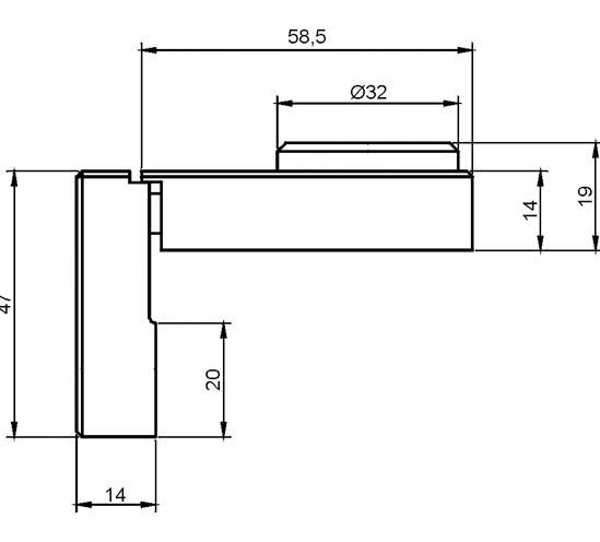 Schloss für einflügelige, aufliegende Türen
