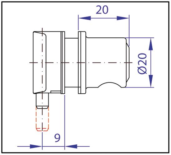 Glastürschloss / Knopfzylinder 6 mm