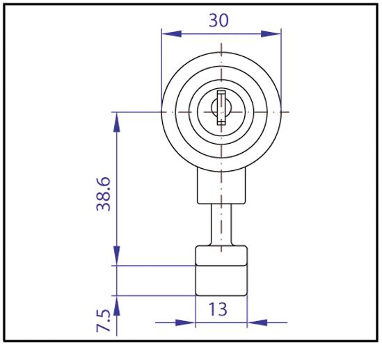 Glastürschloss / Knopfzylinder mit Fallenriegel