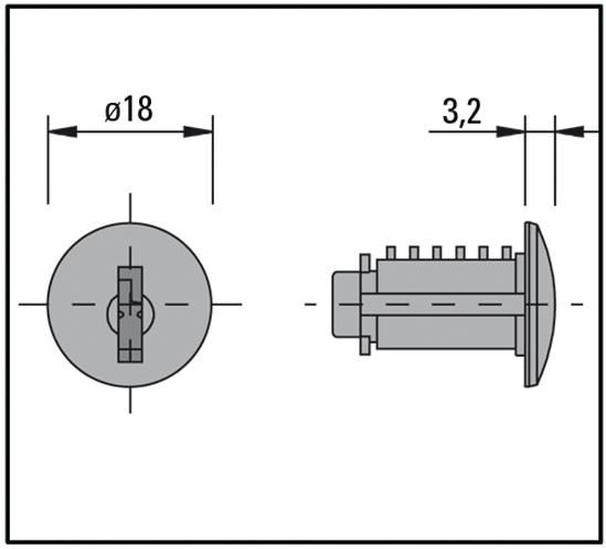 Zylinder-Glastürschloss für auswechselbaren Innenzylinder