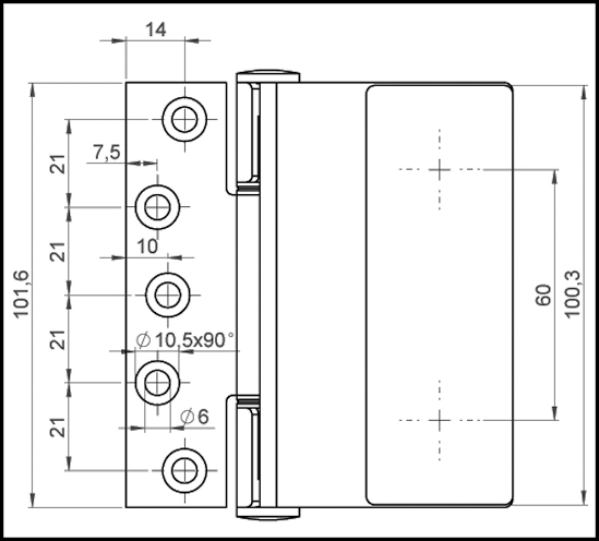 Stainless steel door hinge with square mounting plate glass/wall 90°