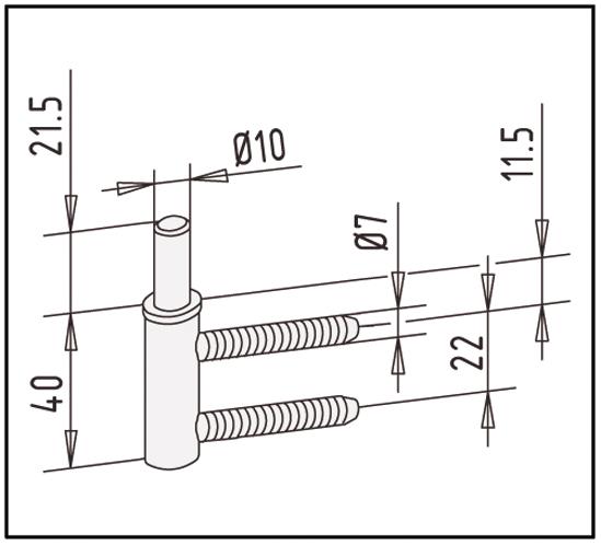 Rahmenteil für 2-tlg. Türbänder und Holzzargen