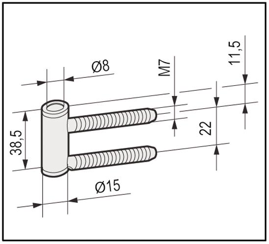 Rahmenteil für 3-tlg. Türbänder und Holzzargen