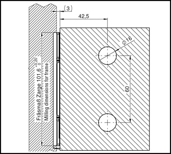 Edelstahltürband mit abgerundeter Anschraubplatte Glas-Wand 90°