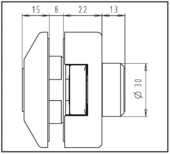Glasdörrlås Studio Private Line kantig Utan låsning Tryckesposition framtill