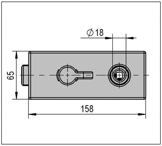 Glasdörrlås Studio Private Line kantig WC Vridratt på låssidan